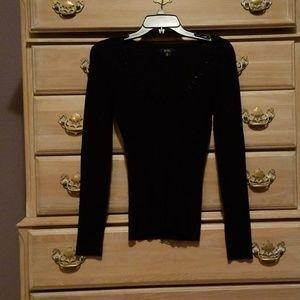 XOXO Black Long Sleeved Embellished Vneck Sweater